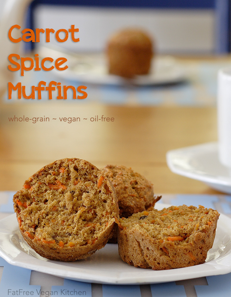 With white whole wheat flour and only a bit of sugar, these vegan Carrot Cake Muffins are healthier than most muffins, even fat-free ones.