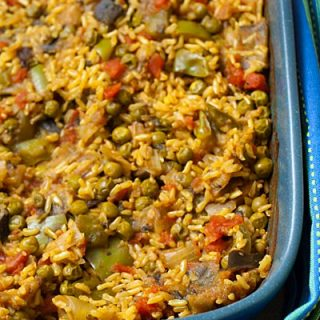 Cumin Rice with Eggplant and Peas