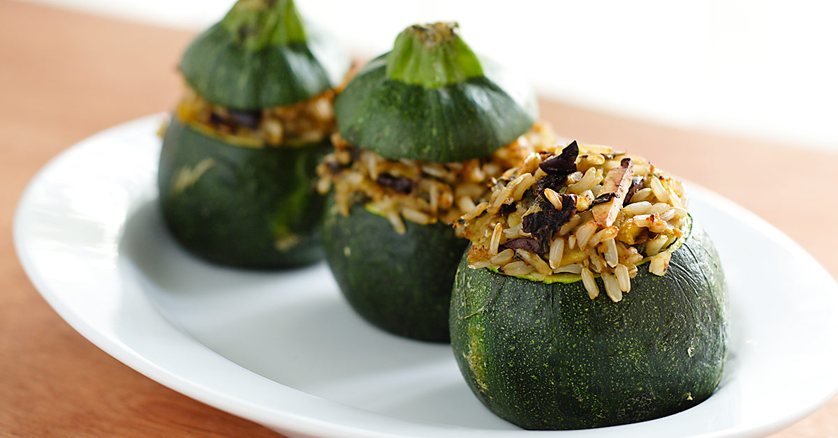 Eight Ball Zucchini Stuffed With Rice Basil And Sun