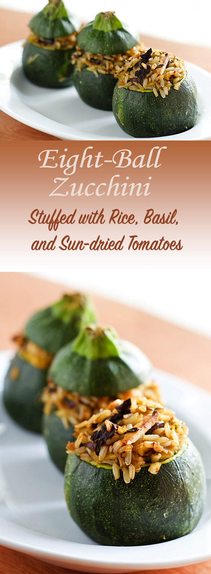 Sun-dried tomatoes lend depth, and a few Kalamata olives pack their usual punch, but the peppery taste of basil makes these rice-stuffed zucchini special. Vegan, low-fat, and gluten-free.