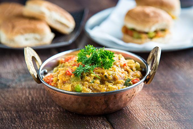 Dal Bhaji (Pav Bhaji with lentils)