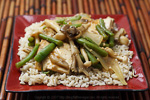 Thumbnail image for Maitake and Beech Mushrooms with Simmered Tofu on Sesame Rice