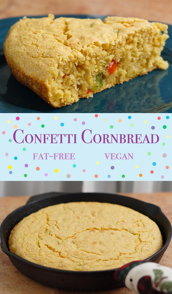 This vegan cornbread is moist and tender and flavored with little pieces of red and green pepper. Add jalapeño pepper or red pepper flakes if you like.