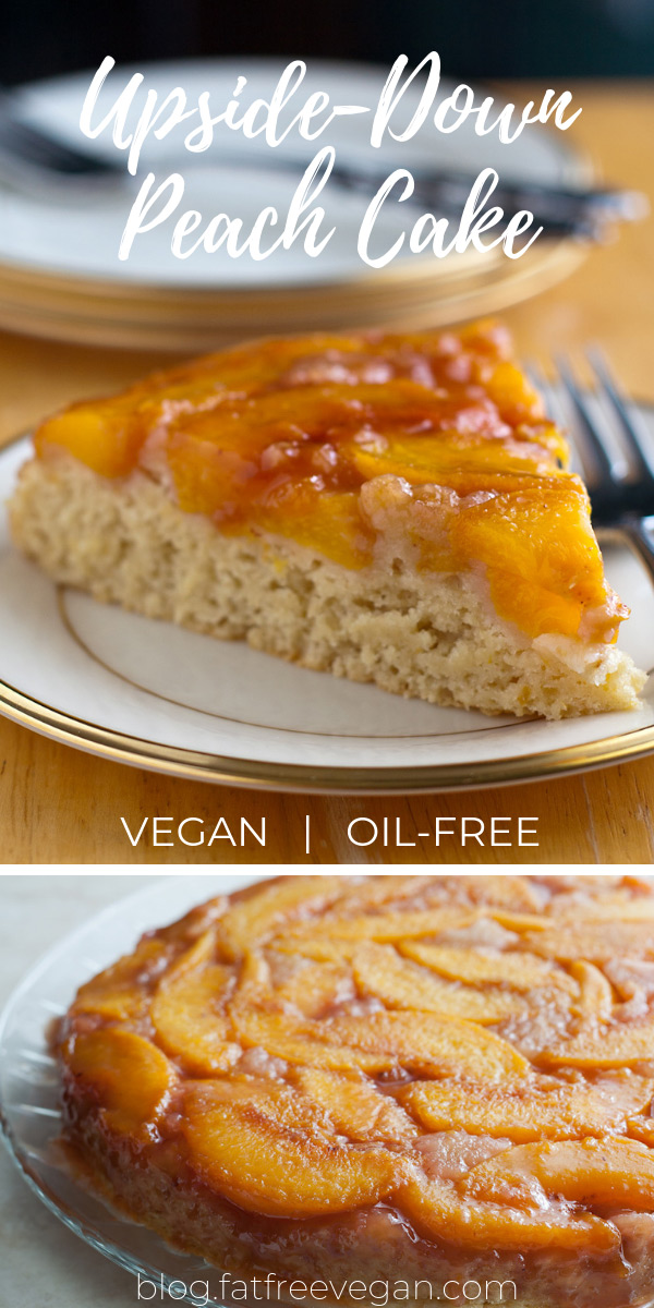 Upside-Down Peach Cake: You won't believe this delicious cake is oil-free and vegan! Luscious fresh peaches top fluffy vanilla cake in this summertime dessert. #vegan