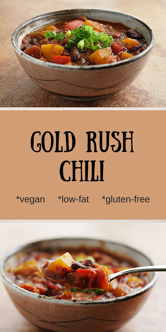 Gold Rush Chili: Vegan, low-fat chili with beans and butternut squash. Gluten-free. Zero WW Smart points. #zeropoints
