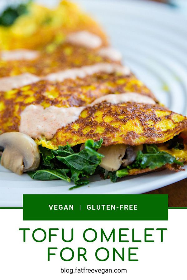 Vegan Tofu Omelet for One: Silken tofu is an excellent substitute for eggs in this incredible vegan omelet. Fill it with kale, spinach, mushrooms, asparagus--any vegetable you like! #vegan #gluten-free #1wwpoint