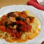Tofu and Vegetable Cacciatore on Roasted Spaghetti Squash