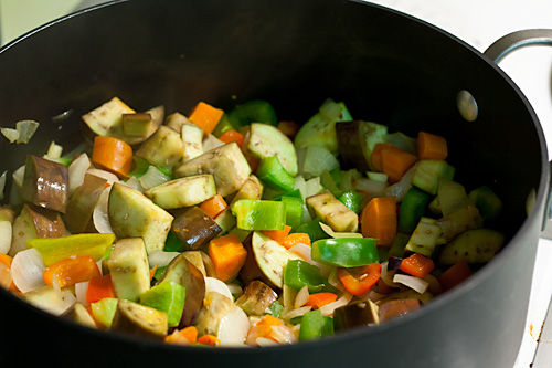 Vegetables cooking for cacciatore