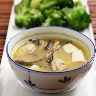 Double Mushroom Miso Soup and Sesame Broccoli