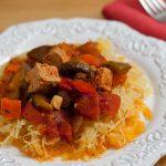 Tofu and Vegetable Cacciatore on Roasted Spaghetti Squash