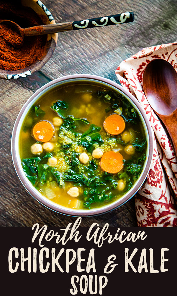 North African Chickpea and Kale Soup: This richly spiced vegan soup, redolent of cinnamon, saffron, and ginger, is as delicious as it is good-for-you. Zero Weight Watchers Smart points.