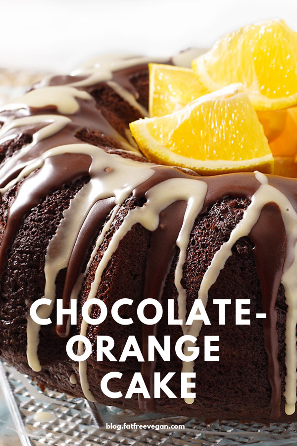 Chocolate-Orange Cake: This vegan chocolate cake sparkles with the flavor of oranges. No one will believe it's fat-free! #vegan #wfpb #wfpbno #fatfree #chocolate #veganchocolate