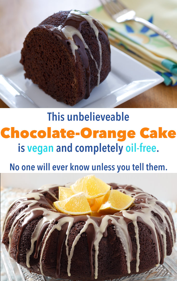 This vegan chocolate cake sparkles with the flavor of oranges. No one will believe it's fat-free!