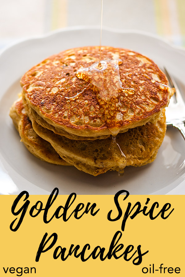 Golden Spice Pancakes: These fat-free vegan pancakes are kissed by the sweetness of orange juice and lightly spiced with cinnamon, nutmeg, and cloves. #vegan #wfpb