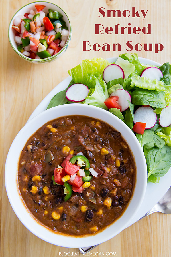 Smoky Refried Bean Soup: This quick and easy refried bean soup is loaded with black beans and corn and is so thick it's almost a chili. #vegan #wfpb #glutenfree