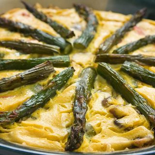 Asparagus and Mushroom Quiche with a Brown Rice Crust