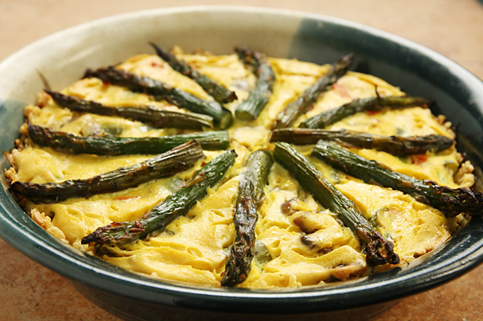 Vegan Asparagus and Mushroom Quiche with a Brown Rice Crust