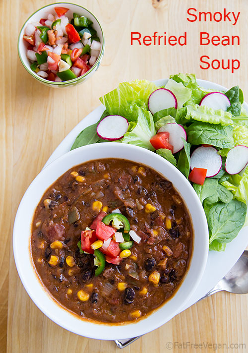 Vegan Smoky Refried Bean Soup: This quick and easy refried bean soup is so thick it's almost a chili. Vegan, low-fat, and gluten-free.