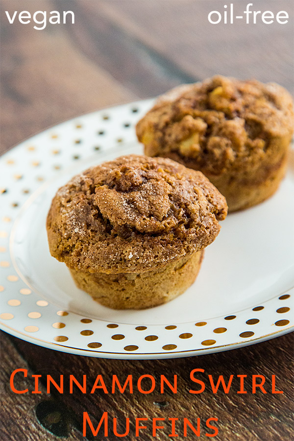 Cinnamon Swirl Muffins: Get a double dose of cinnamon with these vegan cinnamon muffins with an extra swirl of cinnamon. Plus, they're low-fat and oil-free!