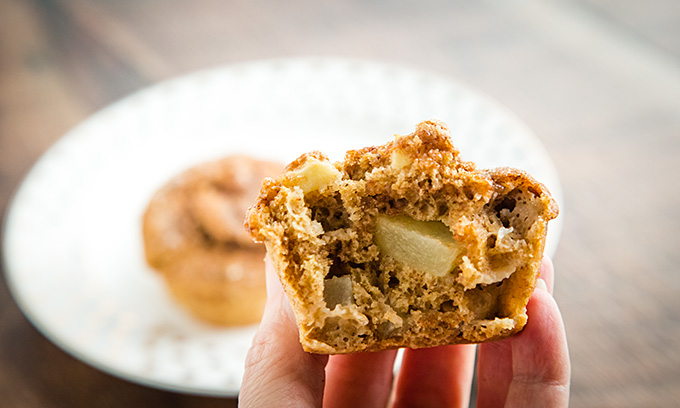 Cinnamon Swirl Muffin interior with chunks of apple