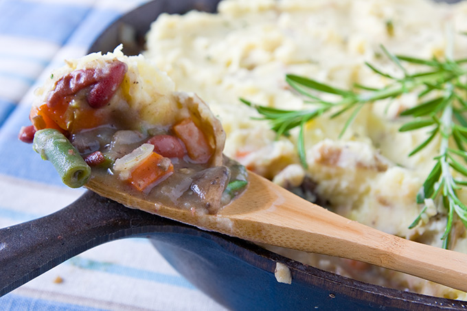 Skillet Gardener's Pie in spoon