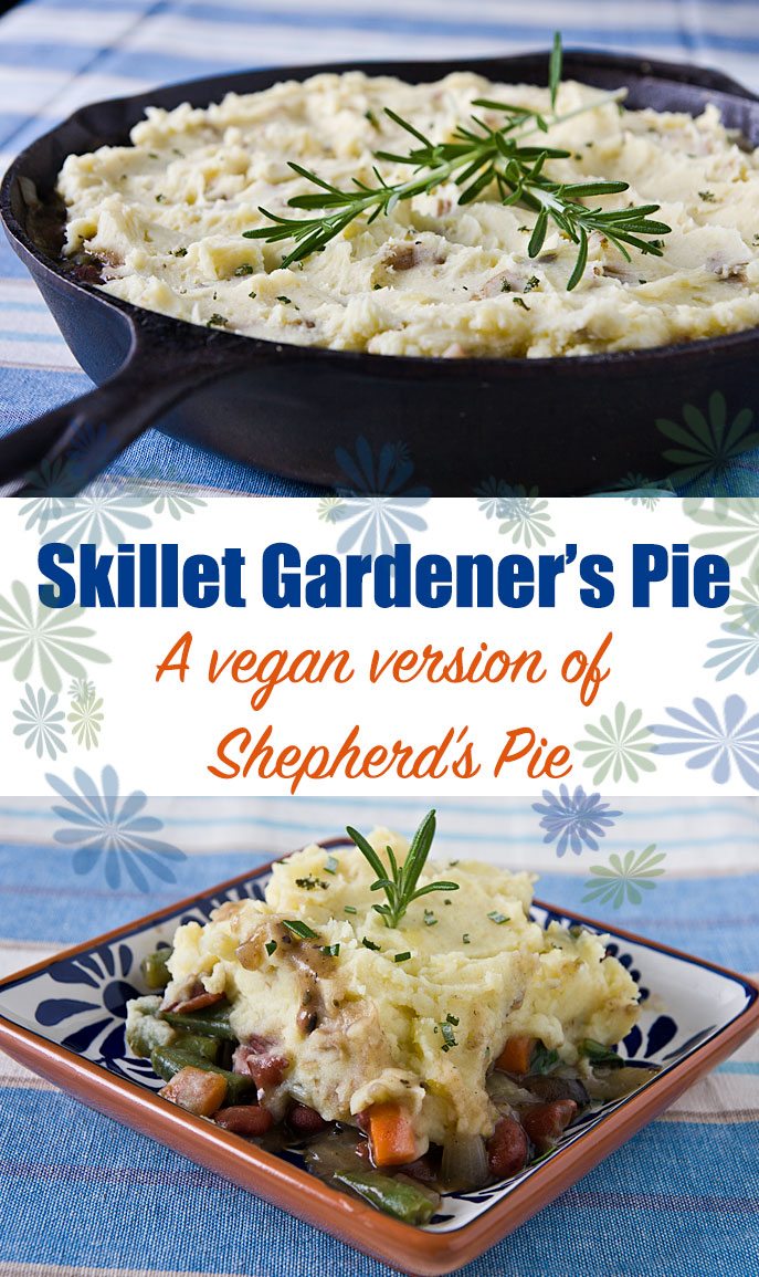Skillet Gardener's Pie: Make this vegan shepherd's pie right on the stove rather than heating up your oven. It's filled with vegetables and beans and topped with fat-free potatoes. #wfpb #vegan