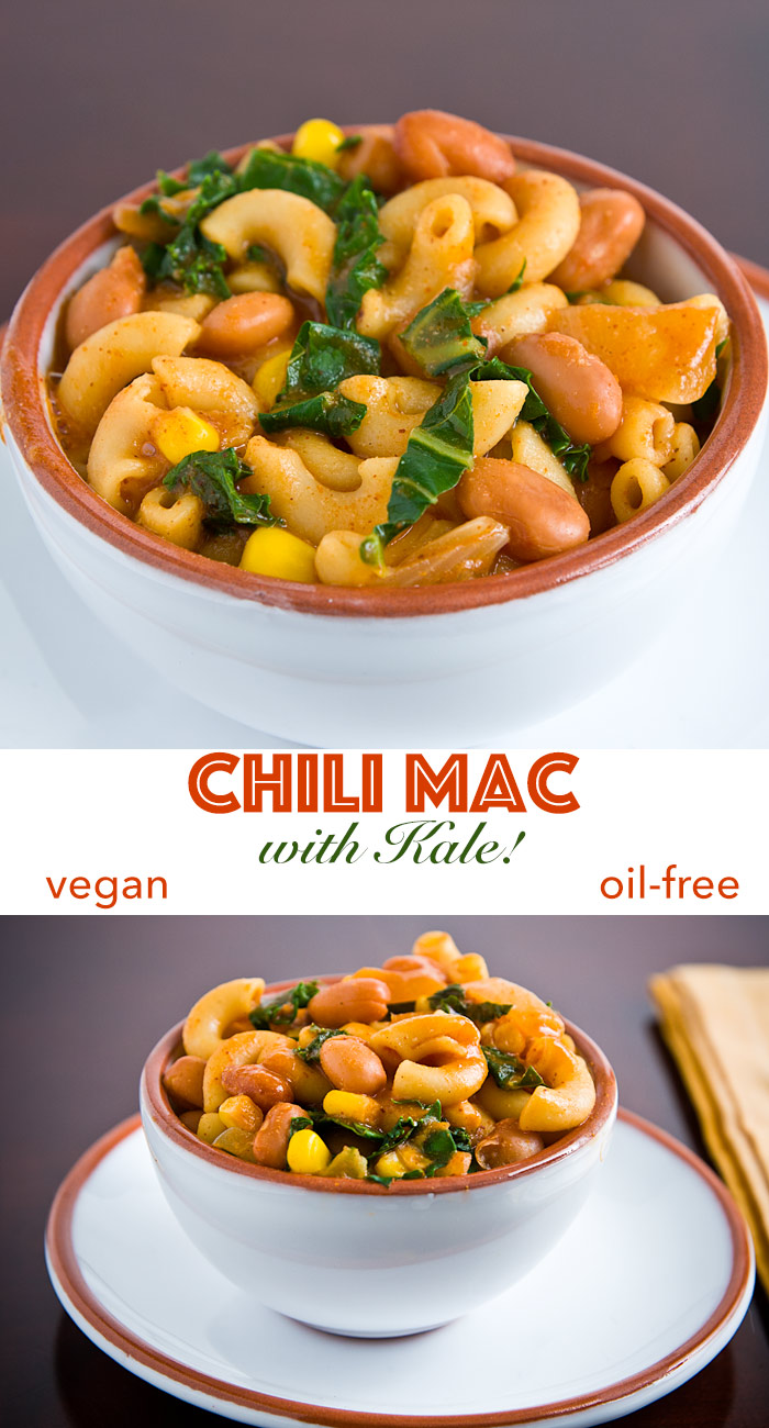 Vegan Chili Mac is the ultimate comfort food. Your children will love it, never realizing that there's actually something healthy in it--beans and kale!