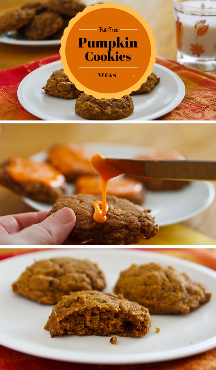 Fat-free pumpkin cookies and vegan pumpkin cookies--both delicious and healthier than traditional cookies.