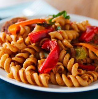Pasta with Peppers and Vegan Seitan Sausage
