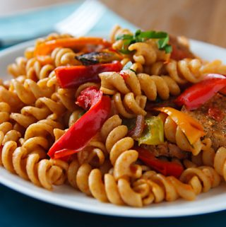 Pasta with Peppers and Italian Seitan Sausage