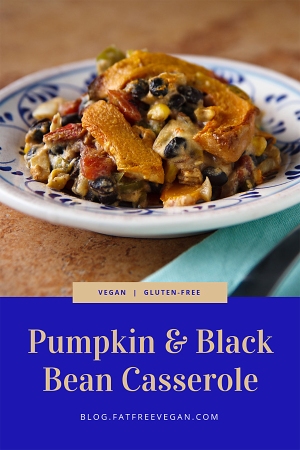 Pumpkin and Black Bean Casserole: Melt-in-your-mouth slices of pumpkin plus cumin-kissed black beans and a creamy, cheesy-tasting sauce add up to a vegan pumpkin casserole unlike anything you've tasted. #vegan #casserole