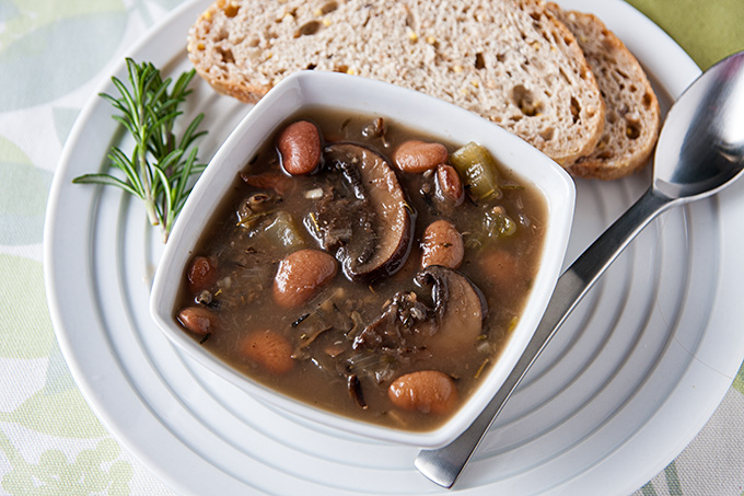 Butter Bean Soup with Portobellos and Wild Rice