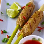 Thai Seitan on Lemongrass Skewers