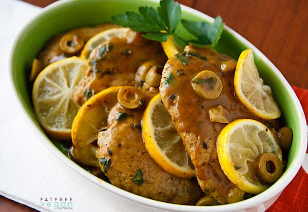 Seitan Scaloppine with Lemon-Olive Sauce