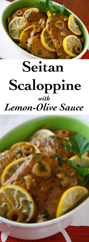 Seitan Scaloppine is thin seitan (wheat gluten) cutlets smothered in a sauce of lemon and green olives. Low-fat, #vegan, and full of protein. #wfpb #wfpbno