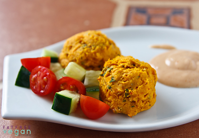 Sweet Potato Falafel with Yogurt-Tahini Sauce