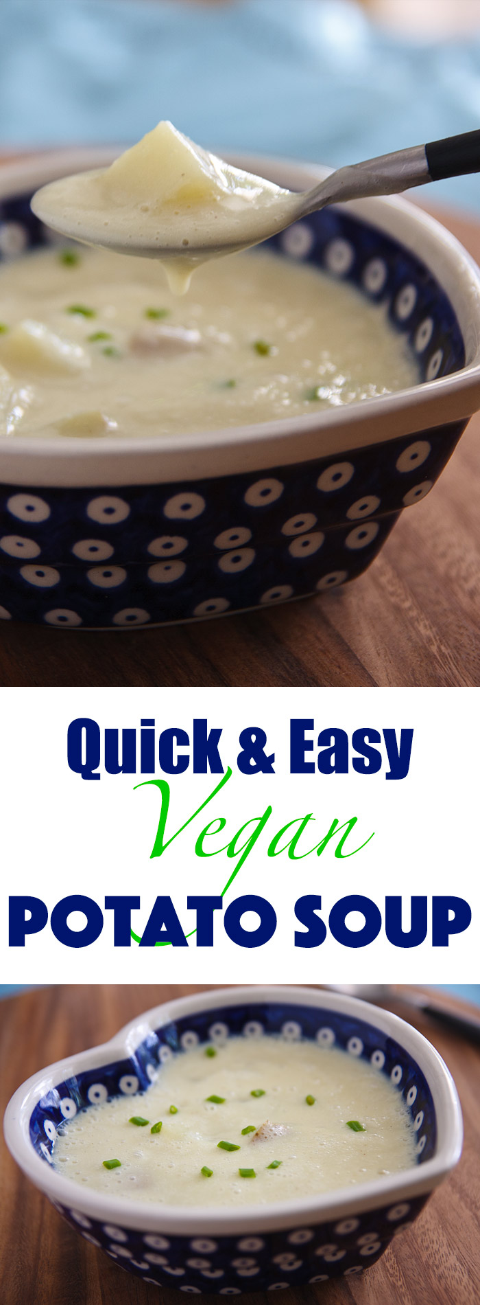 Quick and Easy Potato Soup: Rich and creamy, this vegan potato soup has no added fat and can be made in minutes in a blender. #vegan #wfpb #wfpbno #vegetarian