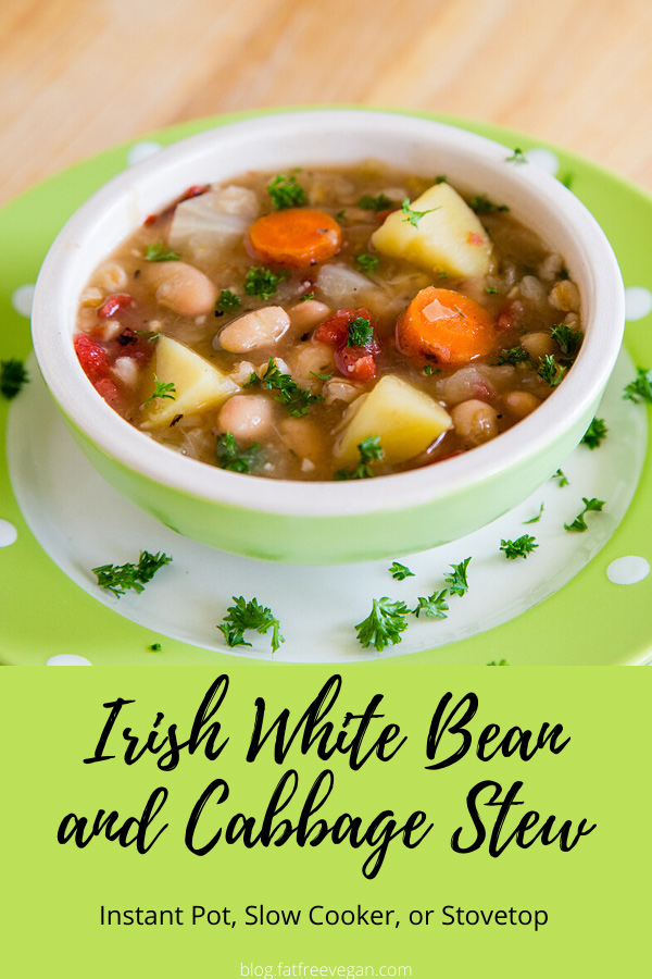 Irish White Bean and Cabbage Stew: Created from basic ingredients and seasonings found in Irish home cooking, this hearty vegan Irish stew is a healthy, filling meal all on its own. #vegan #wfpb