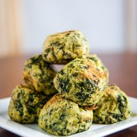 Colcannon Puffs are baked or air-fried balls of mashed potatoes and kale. They're a perfect way to get your kids to eat their greens. Great for St. Patrick's Day. #irish #vegan #wfpbno