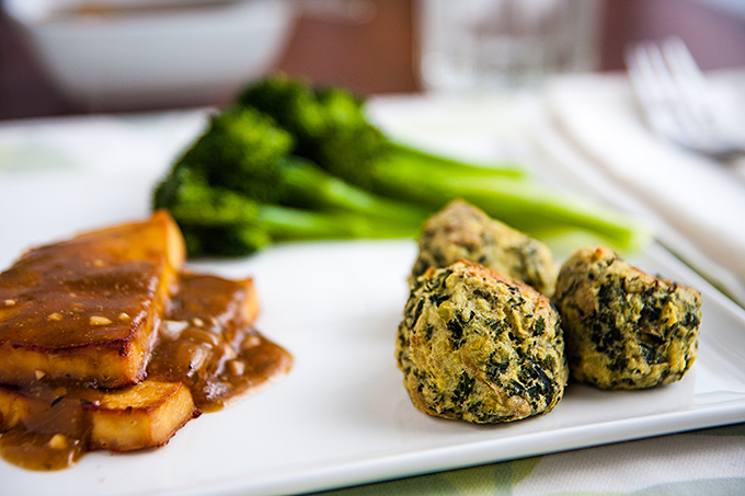 Colcannon Puffs with tofu and gravy and broccoli
