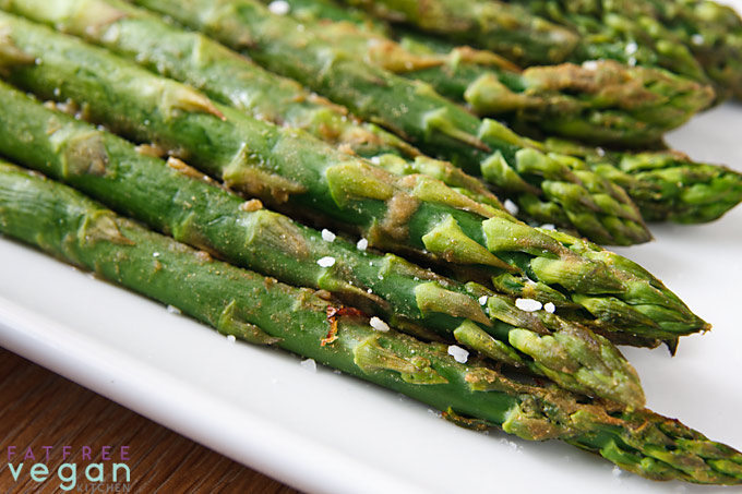 Wasabi-Roasted Asparagus | Recipe from FatFree Vegan Kitchen