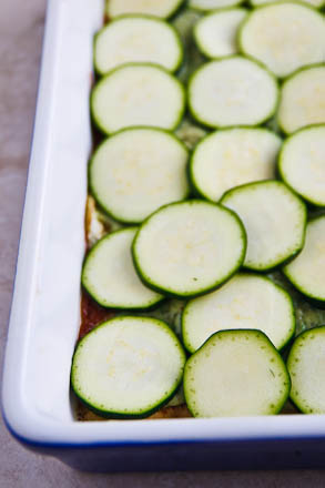 Eggplant and zucchini substitute for noodles in this lightened up version of vegetable lasagne. There's a soy-free option too!