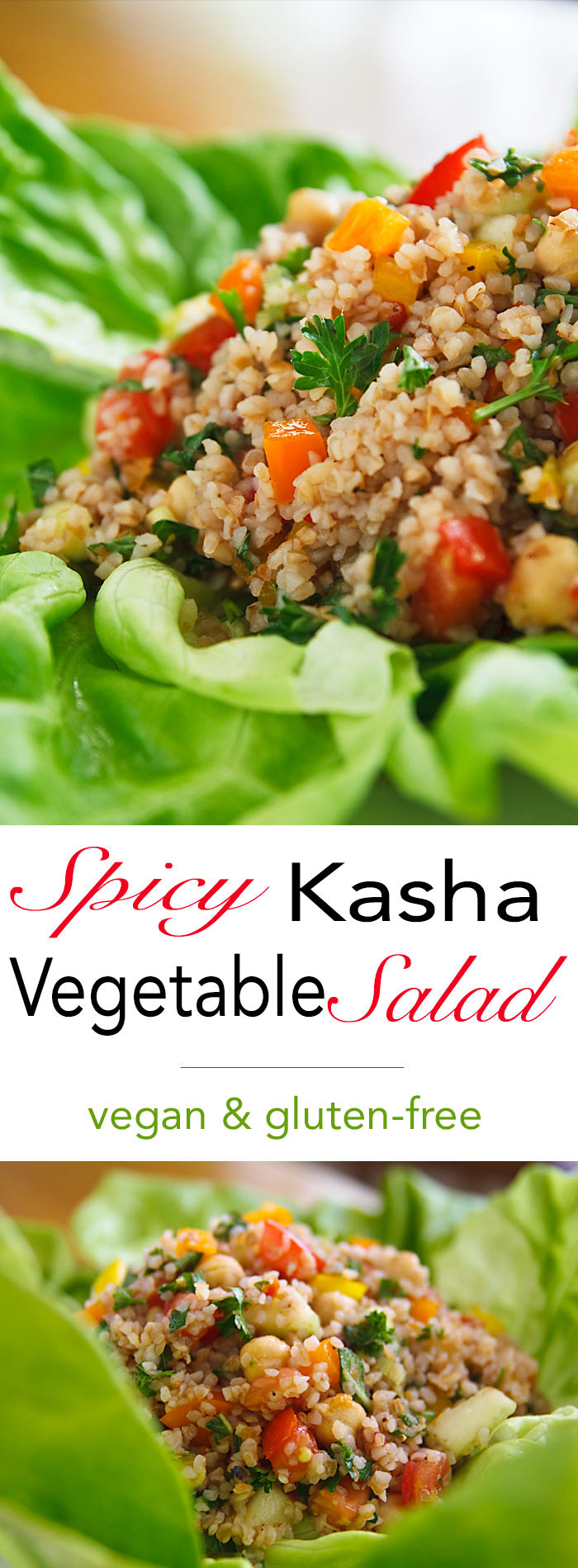 Kasha is the perfect gluten-free replacement for bulgar wheat. This spicy, low-fat and gluten-free salad is similar to a Turkish salad called kisir.