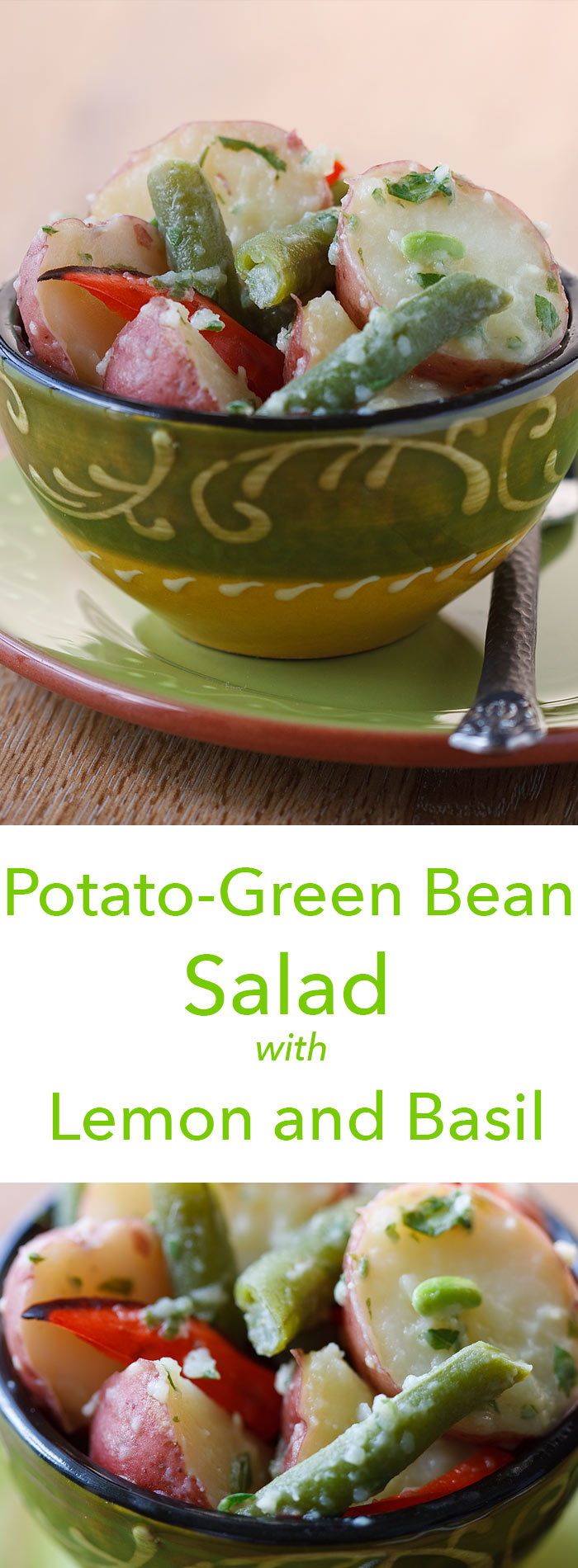A fat-free pesto dressing of basil and garlic coats red potatoes and green beans in flavor in this light, vegan potato salad.