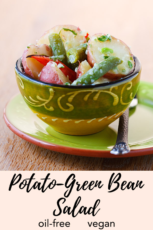 Potato-Green Bean Salad with Lemon and Basil: A fat-free pesto dressing of basil and garlic coats red potatoes and green beans in flavor in this light, vegan potato salad