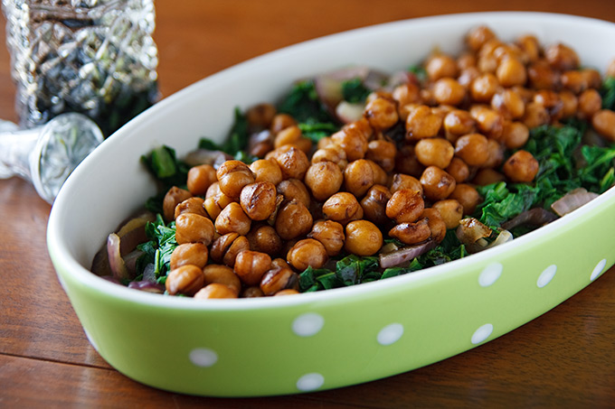 Balsamic-Glazed Chickpeas and Mustard Greens