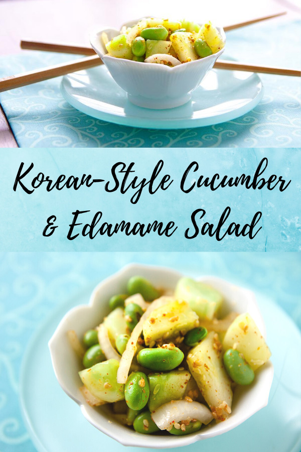 This edamame-enriched version of Korean cucumber salad is hot and spicy and sesame-infused. Delicious as a side dish or on rice in bi bim bap. #vegan #wfpb