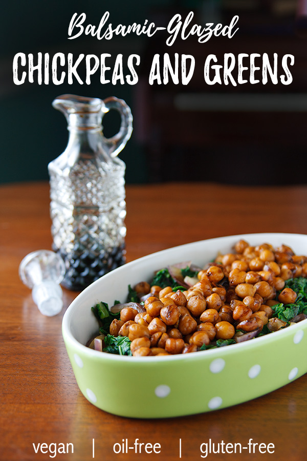 Balsamic-Glazed Chickpeas and Mustard Greens: With some sweet red onion, cooked chickpeas, and a reduced balsamic dressing, mustard greens (or any greens!) quickly become a complete, light meal. #Vegan. Low-fat.
