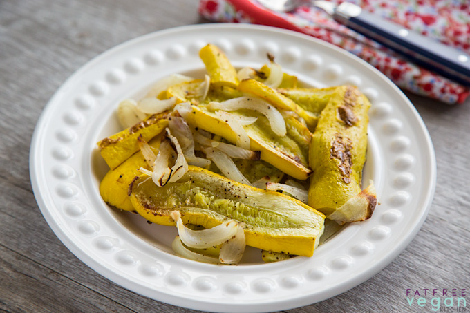 Ridiculously Easy Roasted Yellow Squash and Onions on a white plate