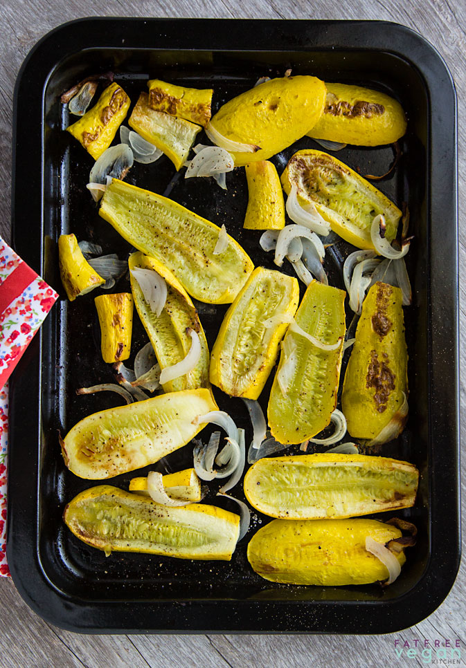 Ridiculously Easy Roasted Yellow Squash and Onions: Roasting yellow squash with onions gives them a deep, rich, smoky flavor. It's hard to believe they're vegan and fat-free! #vegan #gluten-free